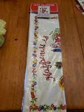 Vintage 1984 Calendar Kitchen Girl Cat Wall Hanging Cotton Towel