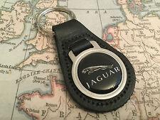 JAGUAR BLACK Quality Black Real Leather Keyring