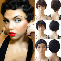 1B Virgin Brazilian Human Hair Wig Short Straight Finger Wave Full Hair Women T7