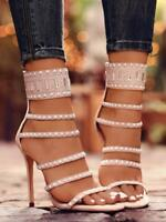 New Women's Peep Toe High Heels Gladiator Sandalias Rhinestone Crystal Shoes