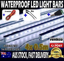 4X12V Waterproof Cool White 5630 Led Strip Lights Bars + 5m Extension Wire, Plug