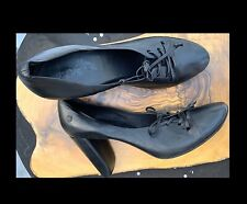 Marsell Shoes Women's 10 US 40 EUR Black Leather Lace Up High Heels Round Toe