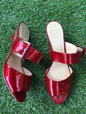 Clarks Tidal Flow red patent slip on sandals slides heels uk 6
