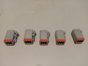Lot of 5 Amphenol 6-Way Connector Plug, AT06-65, 1406100