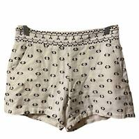 Anthropologie Lexie Hei Hei Womens Sz 2 Clip Dot Black White Shorts Embroidered