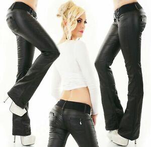 Women's Faux leather Boot cut Trousers Black coated Pants + Belt UK 6-14