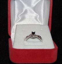 Sterling Silver .925 Princess Round Diamond Black and White  Ring 1/6ctw sz 5.5