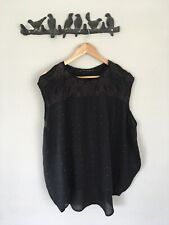 MUNTHE plus SIMONSEN - BLACK STUDDED & EMBROIDERED TUNIC BLOUSE TOP - SIZE M - L