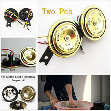 2 Pcs Round Golden Vehicle Audio Electric Dual Tone Horn Super Loud 12V For Ford
