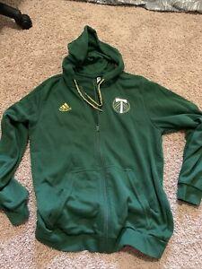Adidas Portland Timbers MLS Soccer Zip-Up Hoodie Sweatshirt Adult Large Green