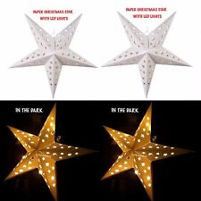 CHRISTMAS HANGING LED STAR LIGHT XMAS PAPER LANTERN WHITE CREAM DECORATION 60CM