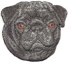 """2 1/2"""" x 2 7/8"""" Black Pug Dog Breed Portrait Iron On Embroidery Patch"""