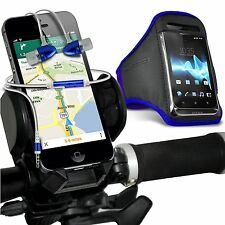 Quality Bike Bicycle Holder+Sports Armband Case Cover+In Ear Headphones✔Blue