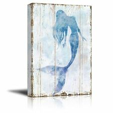 """Canvas Wall Art - Mermaid Picture on Vintage Background Rustic Artwork-32"""" x 48"""""""