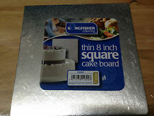 "Kingfisher 8""/20cm Thin Square Cake Board Foil Covered & Wrapped. Home Baking."