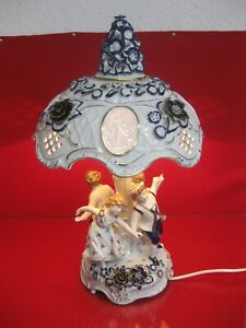 PMP Plaue Lampe kobalt Riesig 47cm Lithophanie Figur Schreibtischlampe Putto