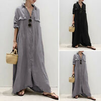 Women Kaftan 3/4 Sleeve Button Up Shirt Dresses Casual Vintage Long Maxi Dress
