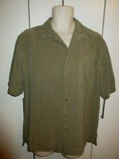 RYAN MICHAELS ~OLIVE GREEN~ SILK FLY FISH SS BUTTON UP  Men's Med Large