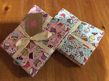 Craft 100% cotton FQ bundle of 6 cupcake design fabrics in bright colours