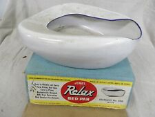 Vintage Porcelain Enamelware Jones Relax Bed Pan in Original Box no. 500