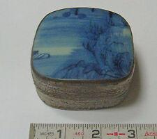 Blue White Porcelain Vase Piece inset into Metal Trinket Box