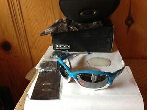 NEW Oakley Racing Jacket AF Glacier / Black Iridium POLARIZED & Clear, OO9197-06