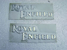 NEW PAIR ROYAL ENFIELD SILVER TANK LOGO STICKER SET