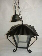 Lanterna 4 vetri quadrata in ferro battuto con catena