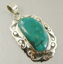 Semi-Precious REAL GENUINE TURQUOISE Gemstone 925 Sterling Silver Pendant - A31