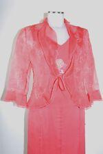 Vera Mont Kostüm 36 38 Dreiteiler in Seide Rock Top Jacke in rot neu mit Etikett