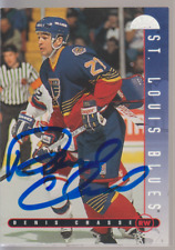 Autographed 95/96 Leaf Denis Chasse - Blues