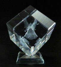 Angel with 2 butterflies Laser 3D Picture in Square Crystal - Comes with Gift Bo