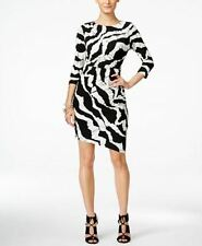 INC International Concepts Women's New Zebra Print Sheath Black White Size  6