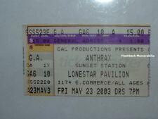 Anthrax Concert Ticket Stub San Antonio Tx 2003 Lonestar @ Sunset Station Rare