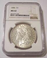 1886 Morgan Silver Dollar MS62 NGC Light Toning