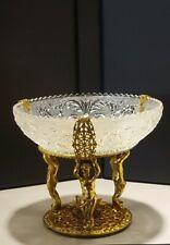 Vintage Glass Bowl/Cast Metal Pedestal Nude Cherub Compote