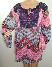 2B Together Women Plus Size 2x 3x Floral Striped Pink Tunic Top Blouse Shirt