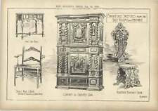 1904 Furniture Sketches Cabinet Carved Oak Queen Anne Chair Venetian