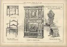 1904 SCHIZZI PER MOBILI ARMADIO SCOLPITO QUERCIA Queen Anne Sedia veneziana