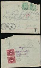 USA 1911 POSTAGE DUES from INDIA DEC 31st HUDSON TERMINAL + JAN 1st 1912 CANCEL