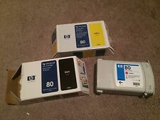 Lot 3 HP 80 C4871A Genuine Designjet Black Ink cartridges SEALED/NEW, EXP 2012