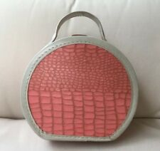 Vintage 8� 1950s Round Carrying Case For Doll Clothes Pink Faux Alligator