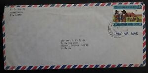 1973 Nevis Anguilla Airmail Cover ties 40c stamp cd Basseterre