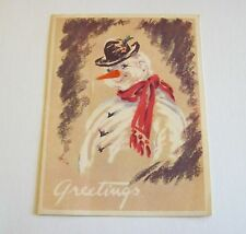 Vintage Christmas Greeting Card -  Snowman With Red Scarf 1958