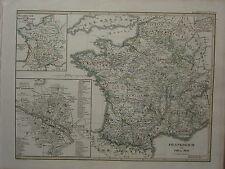 1846 SPRUNER ANTIQUE HISTORICAL MAP FRANCE 1461-1610 PARIS 16th CENTURY BRETIGNY