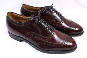 Johnston & Murphy Men's 8 D/B Burgundy Leather Wingtip Brogue Dress Oxford Shoes