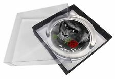 'I Love You' Gorilla with a Red Rose Glass Paperweight in Gift Box Chr, AM-19RPW