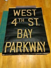 Vintage NYC Subway IND/BMT Front Roll sign piece - West 4th St/Bay Parkway