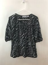 Sag Harbor S Top Shirt Women Black White Stretch Neck Tie Flowy Career Versatile