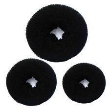 3pcs Women's Magic Black Donuts Bun Former Shaper Hair Ring Styler Maker Tool.